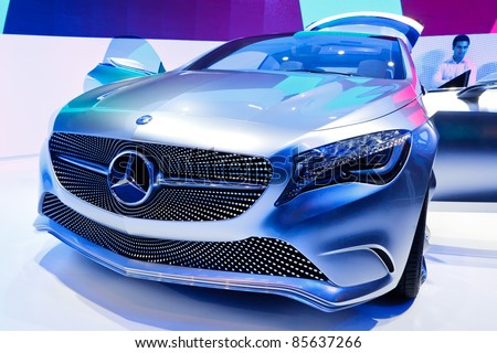FRANKFURT - SEPT 24: Mercedes-Benz Concept A-Class shown at the 64th IAA Motor Show (Internationale Automobil-Ausstellung) in Frankfurt, Germany, on September 24, 2011. - stock photo