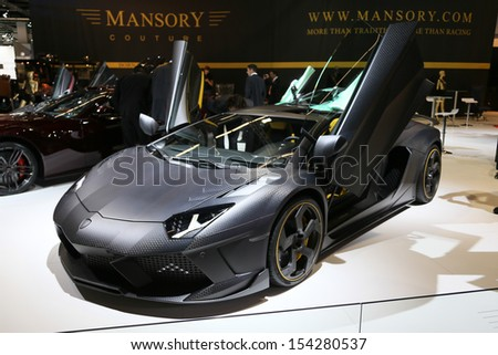 FRANKFURT - SEPT 10: Monsory Carbonado Lamborghini Aventador shown at the 65th IAA (Internationale Automobil Ausstellung) on September 10, 2013 in Frankfurt, Germany. - stock photo