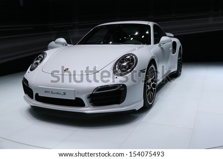 FRANKFURT - SEPT 10: Porsche 911 Turbo S shown at the 65th IAA (Internationale Automobil Ausstellung) on September 10, 2013 in Frankfurt, Germany. - stock photo