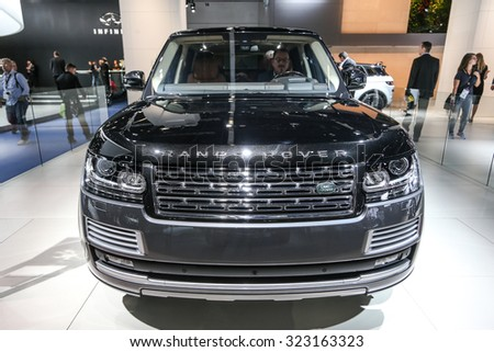 FRANKFURT - SEPT 15: Range Rover Sport SVR Special Vehilce Operation shown at the 66th IAA (Internationale Automobil Ausstellung) on September 15, 2015 in Frankfurt, Germany. - stock photo