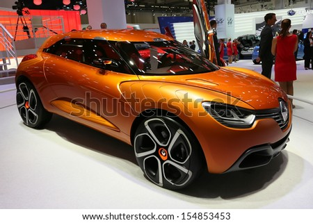 FRANKFURT - SEPT 10: Renault Captur Concept Car shown at the 65th IAA (Internationale Automobil Ausstellung) on September 10, 2013 in Frankfurt, Germany. - stock photo