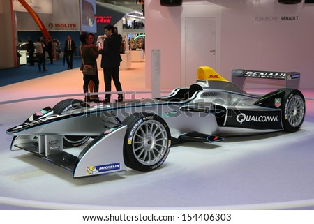 FRANKFURT - SEPT 10: Spark Renault SRT 01E Formula E shown at the 65th IAA (Internationale Automobil Ausstellung) on September 10, 2013 in Frankfurt, Germany. - stock photo