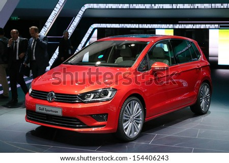 FRANKFURT - SEPT 10: VW Golf Sportsvan shown at the 65th IAA (Internationale Automobil Ausstellung) on September 10, 2013 in Frankfurt, Germany. - stock photo