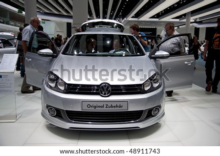 FRANKFURT - SEPTEMBER 20: New Volkswagen GOLF on 63rd IAA (Internationale Automobil Ausstellung) on September 20, 2009 in Frankfurt, Germany - stock photo