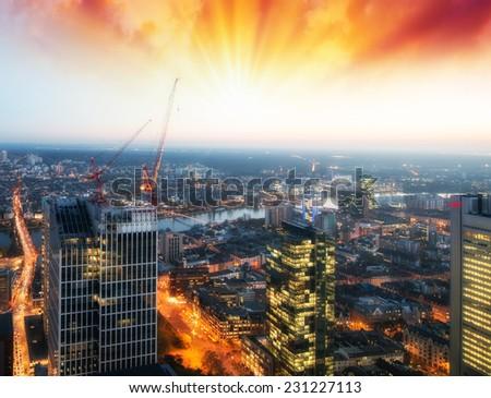 Frankfurt skyline at sunset, Germany. - stock photo