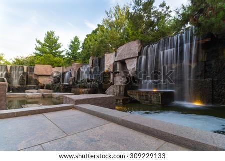 Franklin Delano Roosevelt Memorial Waterfalls - stock photo