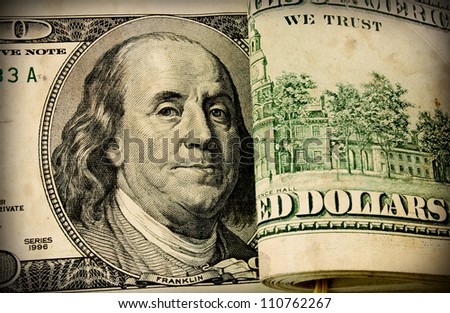 Franklin portrait on one hundred american dollar close up - stock photo