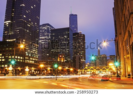 Franklin Street and Walker Drive in Chicago. Chicago, Illinois, USA - stock photo