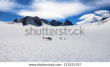 Franz Josef Glacier from top view, New zealand - stock photo