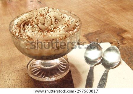 frappuccino topping with whip cream and cookie - stock photo