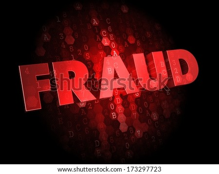 Fraud - Red Color Text on Dark Digital Background. - stock photo
