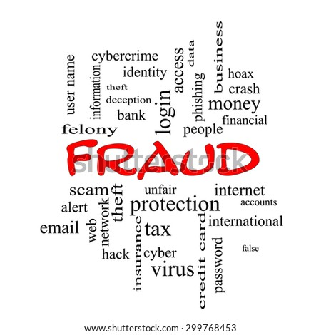 Fraud Word Cloud Concept in red caps with great terms such as alert, identity, theft and more. - stock photo