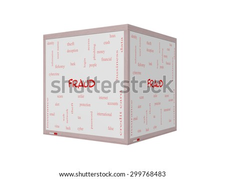 Fraud Word Cloud Concept on a 3D whiteboard with great terms such as alert, identity, theft and more. - stock photo