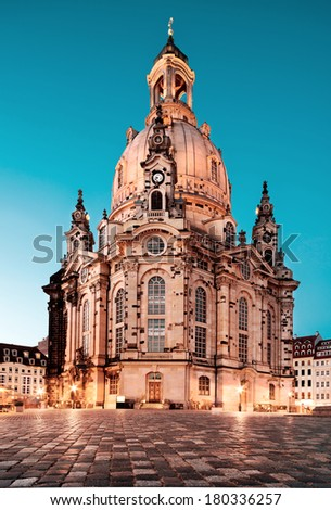 Frauenkirche at night in Dresden, Germany, tinted image - stock photo