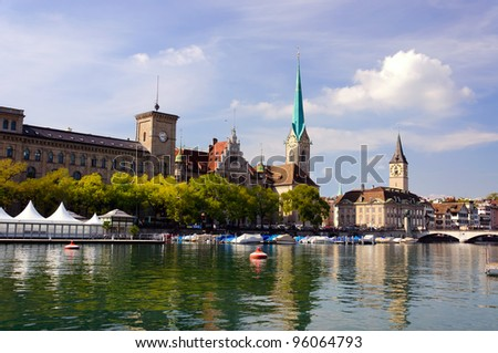 Fraumunster abbey, Zurich, Switzerland - stock photo