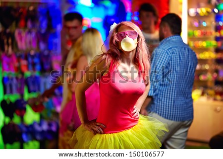 freak girl on music festival, youth culture - stock photo