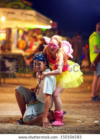 freak people having fun on music festival. youth culture - stock photo