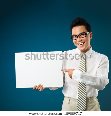 Freaky manager pointing at the empty board - stock photo
