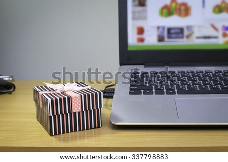 Freckles gifts were laid open notebook. - stock photo