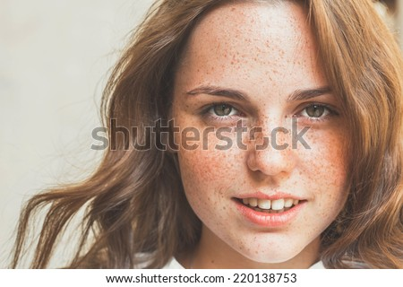 freckles woman portrait - stock photo