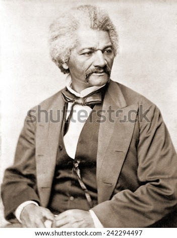 Frederick Douglass (1818-1895), former slave and abolitionist broke whites' stereotypes about African Americans in the decades prior to the U.S. Civil War. 1855 portrait. - stock photo
