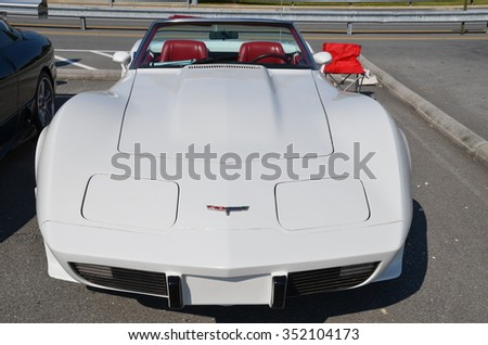 FREDERICK, MD -SEPTEMBER 16: A 1979 White Convertible Chevrolet Corvette Front View on September 16, 2012 in Frederick, MD USA. A Alzheimer's Benefit Car Show in Maryland. - stock photo