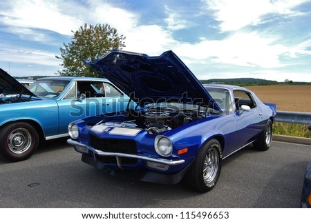 FREDERICK, MD- SEPTEMBER 16: 1979 Blue  Chevrolet Camaro Coupe Engine on September 16, 2012 in Frederick , MD USA. Alzheimer's Association Benefit Car Show at MVA in Maryland. - stock photo