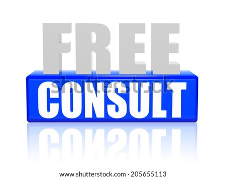free consult - text in 3d blue and white letters and block, business support concept words - stock photo