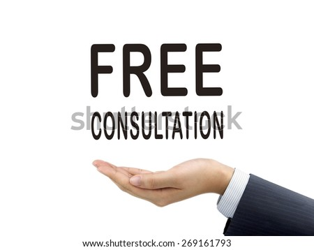 free consultation words holding by businessman's hand over white background - stock photo