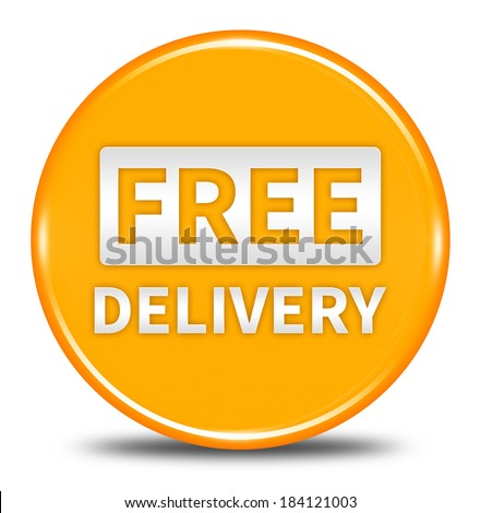 free delivery button isolated  - stock photo