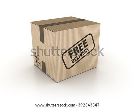 Free Delivery Cardboard Box on White Background - High Quality 3D Render   - stock photo