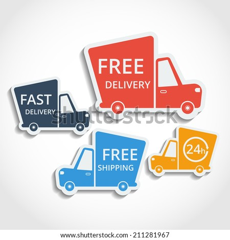 Free delivery, fast delivery, free shipping colorful icons set with blend shadows. Raster copy. - stock photo