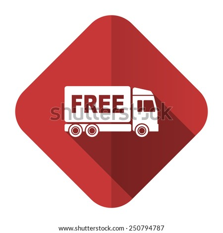 free delivery flat icon transport sign  - stock photo