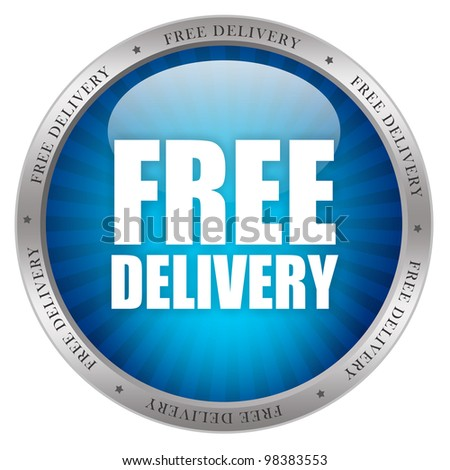 Free delivery glossy icon - stock photo