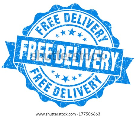 Free delivery grunge round blue seal - stock photo