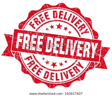 Free delivery grunge round red seal - stock photo