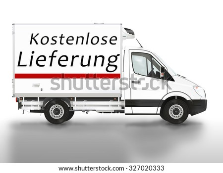 Free delivery in German (kostenlose Lieferung). Van on the white background. Raster illustration. - stock photo