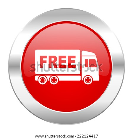 free delivery red circle chrome web icon isolated  - stock photo