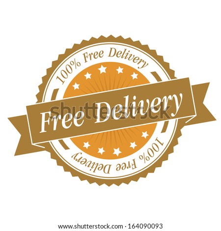 Free delivery stamp, sticker, tag, label, sign, icon with yellow color.JPG - stock photo