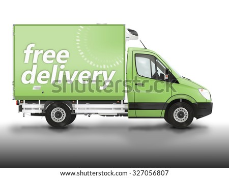 Free delivery. Van on the white background. Raster illustration. - stock photo
