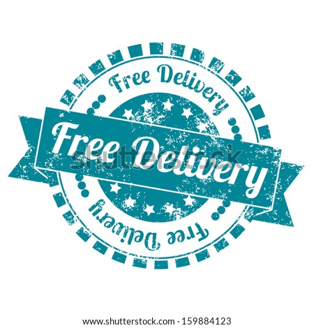 Free Delivery Vintage Stamp with grunge and blue color - stock photo