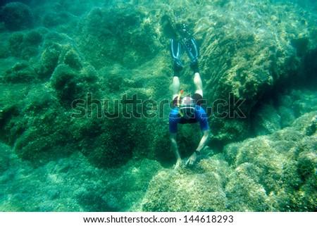 Free diver on the bottom. Mediterranean sea. - stock photo