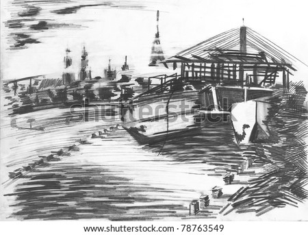 Free-hand drawing by pencil on paper. Port in Riga. - stock photo