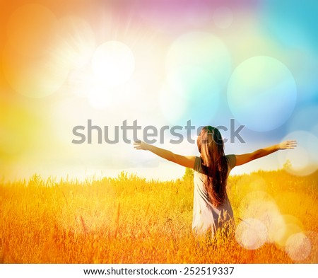 Free Happy Woman Enjoying Nature and Freedom. Beauty Girl Outdoor. Sunny Day. Happy Girl. - stock photo