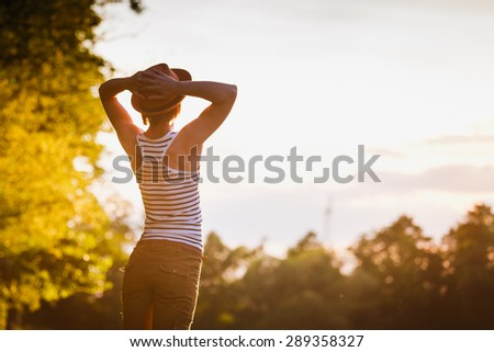 Free Happy Woman Enjoying Nature. Freedom concept. Enjoyment. - stock photo
