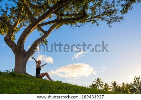 Free Happy Woman Enjoying Nature. Sunbeams. Enjoyment. - stock photo