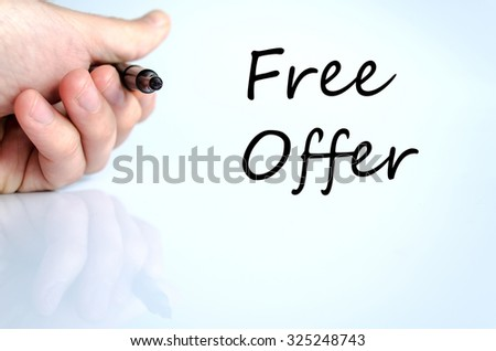 Free offer text concept isolated over white background - stock photo