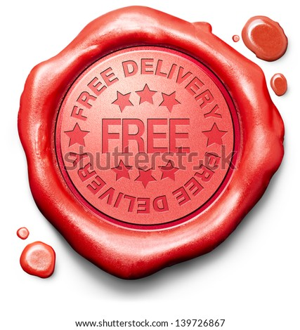 free package delivery online internet web shop order shipping icon red wax stamp seal for webshop shipment - stock photo