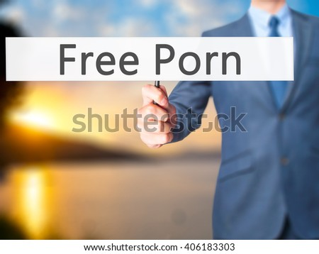 Free Porn - Businessman hand holding sign. Business, technology, internet concept. Stock Photo - stock photo