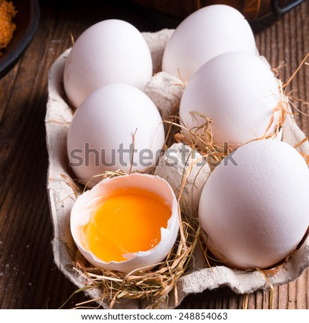 Free-range eggs - stock photo